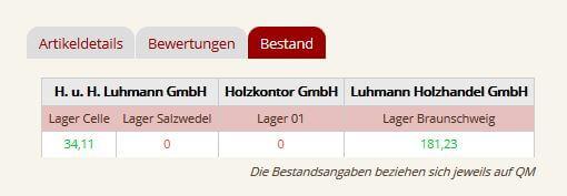 Bestandsanzeige Luhmann Onlineshop
