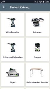 Festool Produktkatalog in der App