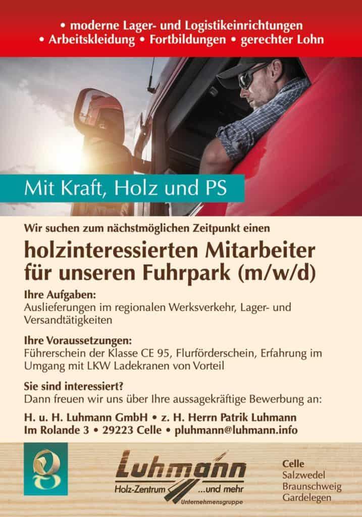 Luhmann Celle - Stellenanzeige - LKW Fahrer