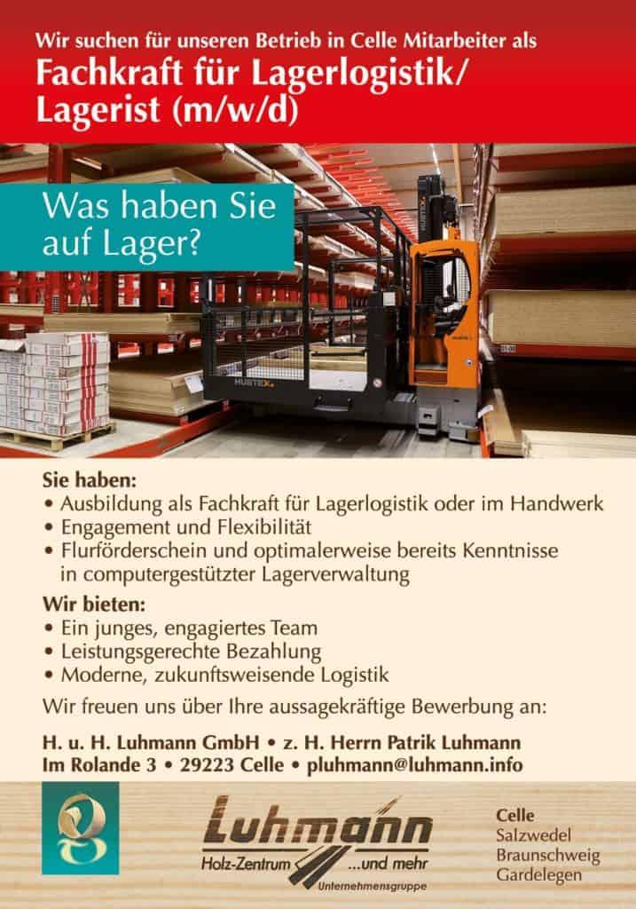 Stellenausschreibung - Luhmann Celle - Lagerlogistik
